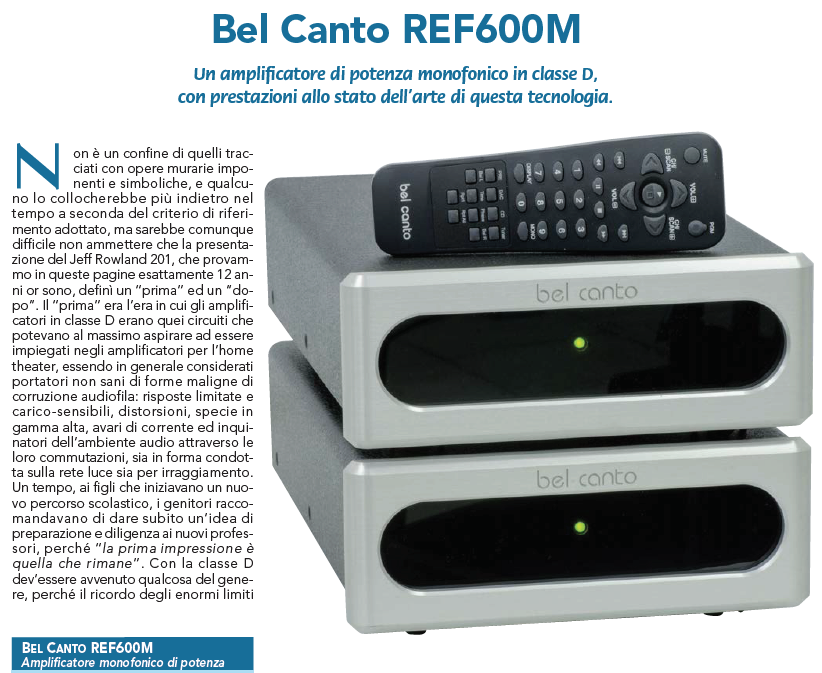 Bel Canto REF600M – AUDIOREVIEW n. 376 giugno 2016 – Audio Point